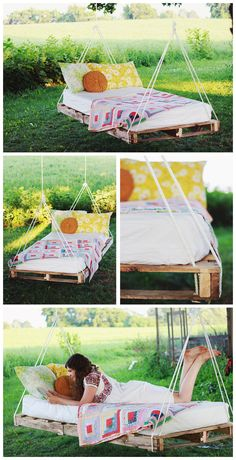 I love this idea of a hanging bed within the garden and even more as it is made from a repurposed pallet ! The tutorial to make this pallet swing bed is av