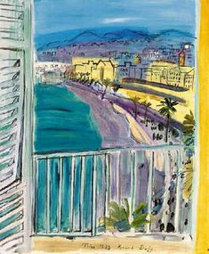 Artwork by Raoul Dufy, La fenêtre à Nice, Made of oil on canvas Raoul Dufy, Art And Illustration, Art Français, Georges Braque, Diego Rivera, Scenic Design, Henri Matisse, Land Art, French Artists
