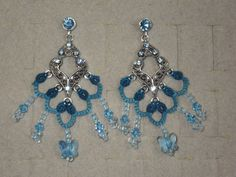 Tatted earrings with Swarovski crystal fillagree by TattingByWendy, $25.00