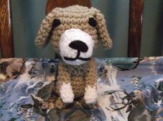 Small brown dog crochet dog amigurumi sitting dog by SalemsShop