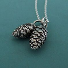 Pine Cone Charm Necklace in Sterling Silver with Two by esdesigns