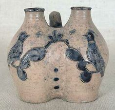 """NEW YORK OR CONNECTICUT STONEWARE GEMEL JUG, ca. 1800, with incised cobalt love birds, 5 1/4"""" h."""