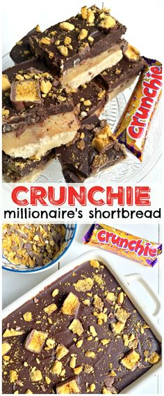 With a moreish shortbcake layer on the base, paired with homemade caramel, and topped with a thick layer of chocolate - Crunchie Millionaire's Shortbread! Yummy Treats, Sweet Treats, Yummy Food, Baking Recipes, Dessert Recipes, Tray Bake Recipes, Oreo Dessert, Party Recipes, Baking Tips