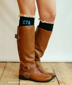 Sorority Boot Socks cable knit boot sock with ruffled ivory lace & sorority letters - Available for Pi Beta Phi!!!