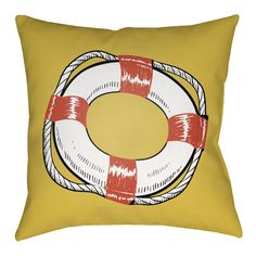 """Artistic Weavers Litchfield Life Saver Indoor/Outdoor Throw Pillow Size: 26"""" H x 26"""" W, Color: Poppy Red/Yellow"""