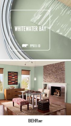 Whitewater Bay, by Behr Paint this cool green hue Behr Paint Colors, Room Paint Colors, Interior Paint Colors, Paint Colors For Home, Wall Colors, House Colors, Modern Paint Colors, Green Paint Colors, Dining Room Colors