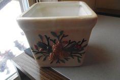 Ceramic Vintage Planter CRAZING Pine Cones Leaves Berries Orange Brown Colors