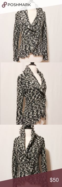 "⭐️ Cynthia Rowley Black & White Knit Bouclé Jacket Scrumptious! Heavy and plush black & white knit Bouclé jacket. Shawl collar with self fringe, asymmetrical one button closure.   63% Acrylic  18% Mohair  11% Polyester  8% Wool   Machine Washable   40"" Chest  17"" Shoulder  25"" Sleeve length  25"" Overall length   # NC1101016 Cynthia Rowley Jackets & Coats Blazers"