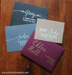 New wedding card envelope design hand lettering ideas Addressing Wedding Invitations, Wedding Party Invites, Addressing Envelopes, Kraft Envelopes, Wedding Stationery, Wedding Cards, Wedding Fonts, Wedding Calligraphy, Custom Envelopes
