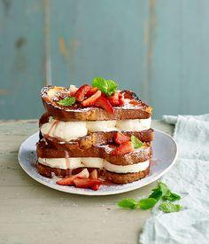 Ice-cream brioche sandwiches with moscato-poached strawberries