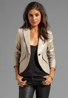 SMYTHE Tuxedo Stripe Blazer in Metallic with Black