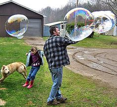 Giant bubbles that don't easily pop!  Ours weren't very big, but the kids really loved them