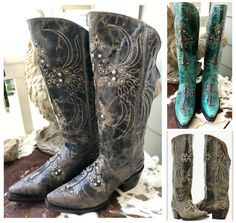 SALE BOOTS Zip Back Crystal Studded Cross Inlay Distressed GENUINE LEATHER Cowgirl Boots SIZE 6 2 COLORS Last Pair Cowgirl Style Outfits, Cowgirl Fashion, Cowgirl Outfits, Cowgirl Boots, Cowgirl And Horse, Western Wear, Western Boots, Western Style, Turquoise Fashion
