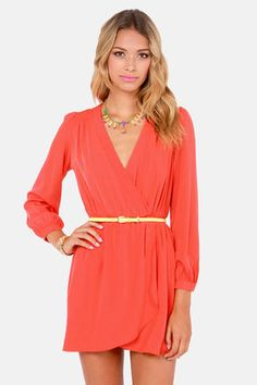 That's a Wrap Coral Red Long Sleeve Dress at LuLus.com!