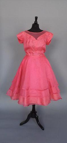 Vintage 1950s Kerrybrooke Hot Pink Ballgown A by alicksandraflin