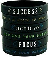 """Success, Achieve, & Focus"" - Motivational Silicone Wristbands w/ Inspirational Messages - Adult Unisex Size for Teens Men Women (6-pack)"