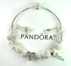 Authentic Pandora Silver bangle charm bracelet with European Charm mom butterfly #Pandoralobsterbangleclaspclaw #European