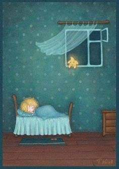 Sweet dreams, little one. The stars shall watch over you. Good Night Moon, Good Morning Good Night, Nighty Night, Moon Art, Children's Book Illustration, Whimsical Art, Little Star, Stars And Moon, Sweet Dreams