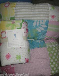 New Pottery Barn Kids Key West Twin quilt & euro sham pink girls beach