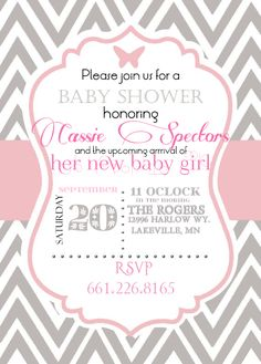 Free Template for Pink and Grey Cheveron Baby Shower invite