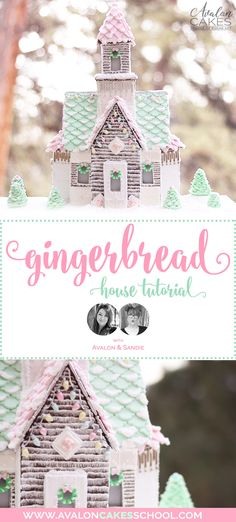 Learn how to make and build this gorgeous pastel gingerbread house! Full video tutorial plus recipes and templates! A collaboration between Avalon. Gingerbread House Icing, Cardboard Gingerbread House, Homemade Gingerbread House, Halloween Gingerbread House, Gingerbread House Patterns, Cool Gingerbread Houses, Gingerbread House Parties, Marshmallow Fondant, The Doors