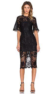 Lover Halo Lace Midi Dress in Black