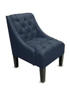 Tufted Swoop Armchair in Navy