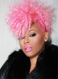 "pumpkinspicepunani: ""badlittlekitten: ""altblackgirls: ""cosmic-noir: ""imninm: ""Black girls with pink hair "" Okay. Now I can't choose between pink or green hair. Short Curly Pixie, Curly Pixie Hairstyles, Teenage Hairstyles, Curly Hair Styles, Natural Hair Styles, Short Curls, Girl Hairstyles, Celebrity Wigs, Celebrity Style"
