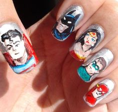 DC Comic. Superman, Batman, Wonder Woman, Green Lantern, and Flash art designs.