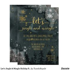 Let's Jingle & Mingle Holiday Party Invitation Gold Calligraphy, Holiday Party Invitations, Sticker Shop, Green And Gold, White Envelopes, Holiday Parties, Rsvp, Christmas Cards, Let It Be