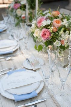 Blue and white tabescape. | Event Stying and Floral Design by Gavita Flora; Photo by Rahel Menig.