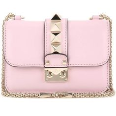 Valentino Valentino Garavani Lock Mini Leather Shoulder Bag (49.840 UYU) ❤ liked on Polyvore featuring bags, handbags, shoulder bags, pink, purses, handbags shoulder bags, shoulder handbags, man bag, shoulder hand bags and purse shoulder bag