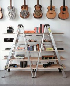 Another great ladder repurpose.  And I love the guitar storage/display of course.