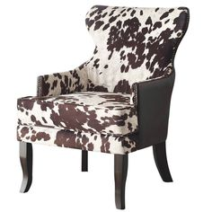Faux Cowhide Accent Chair With Stud Detail