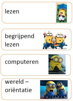 dagritme kaartjes minions Minions, School Items, School Pictures, Classroom Management, Spelling, Teacher, Humor, How To Plan, Education