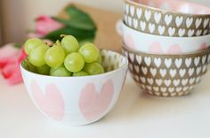 Pink and Gold Heart Bowls from West Elm