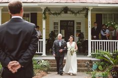 Here comes the bride at this lovely wedding at the bride's childhood home in Summerville SC. Wedding design and planning by Caroline and Laura Jones, aka the bride and her mom! Well done!