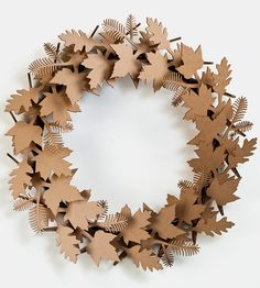 Giant Leaf Cardboard Wreath | Simply snap these laser-cut cardboard pieces together and you'... | Wreaths & Garlands