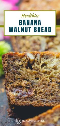 This delicious, super moist, perfectly sweetened banana walnut bread is a game changer! A reduced-guilt banana bread recipe made with olive oil and naturally sweetened with honey and chunks of Medjool dates, which infuse the banana bread with rich flavor and a beautiful velvety texture. You won't miss the butter or refined sugar, I promise! Make an extra loaf or two to freeze for later use. Healthy Thanksgiving Recipes, Vegetarian Recipes Easy, Healthy Meals For Kids, Easy Recipes, Dinner Recipes, Healthy Recipes, Easy Mediterranean Recipes, Mediterranean Dishes, Banana Walnut Bread