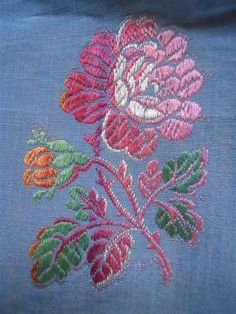 ANTIQUE  FRENCH  FABRIC SILK JACQUARD FOR PILLOWS  BLUE AND FLOWERS