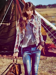 Free People Tapestry Moto Jacket, $148.00- inspiration, make a jacket with similar material. LOVE!