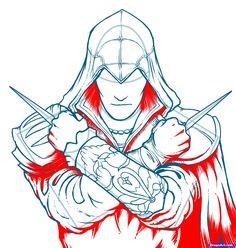 how to draw ezio, assassins creed, ezio step 12