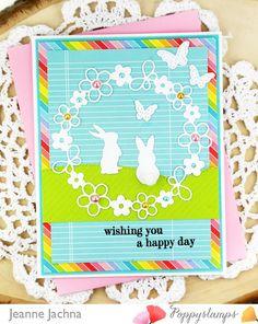 A Kept Life: Poppystamps Blog Blitz Begins! Poppystamps Stamp Grateful Hearts, Dies Garden Wreath, Stitched fluttering Butterflies, Stitched Hills, Little Rabbits #card #cardmaking #stamping #stamp #die #dies #bunny #rabbit #flowers #wreath #daisychain #butterfly #scene #spring #Easter