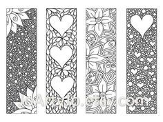 Zendoodle Bookmarks DIY, Zentangle Inspired Hearts and Flowers, Printable Coloring, Valentines Day Digital Download, Sheet 8 via Etsy