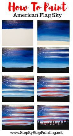 Easy and simple acrylic painting for the absolute beginner and kids. How To Paint American Flag Sky - Step By Step Painting Simple Canvas Paintings, Easy Canvas Painting, Sky Painting, Acrylic Painting Tutorials, Diy Canvas Art, Canvas Crafts, Easy Paintings, Acrylic Canvas, Original Paintings