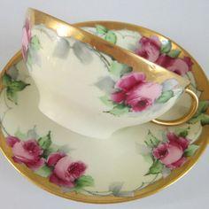 Antique Limoges Porcelain HP Cup Saucer Pink Roses Lush Gilt Trim Wm Guerin