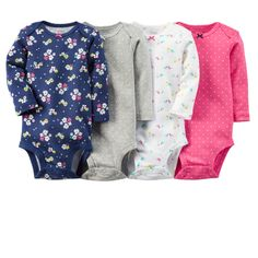4-Pack Long-Sleeve Bodysuits - I like pink and blue