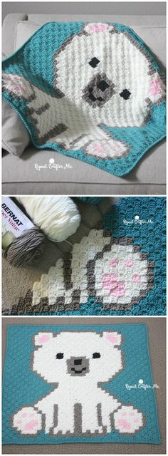 These highly special free corner-to-corner crochet blanket patterns, ready to bring coziness to your home!bear cub crochet c2c blanket