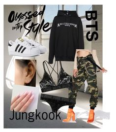 """""""Outfit: Jeon Jungkook [전 정국] Style ♡ #2 (Mic Drop Remix)"""" by curlyhairedbeauty ❤ liked on Polyvore featuring Mastermind Japan, Poster Grl, Victoria's Secret, adidas Originals, bts, jungkook and btsarmy"""