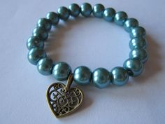 bracelet turquise pearls glass heart vintage